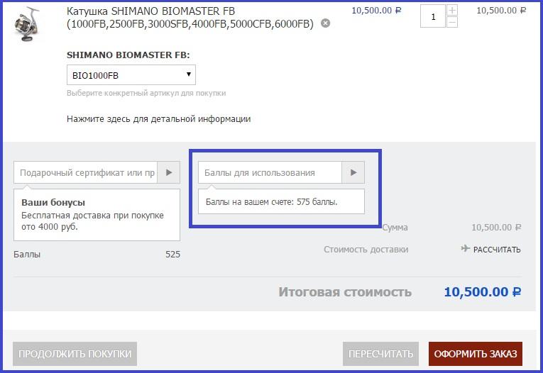 Использование бонусных баллов в корзине rybalkaexpert.ru